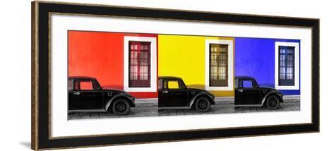 ¡Viva Mexico! Panoramic Collection - Three Black VW Beetle Cars VIII-Philippe Hugonnard-Framed Art Print