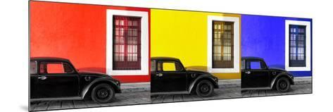 ¡Viva Mexico! Panoramic Collection - Three Black VW Beetle Cars VIII-Philippe Hugonnard-Mounted Photographic Print