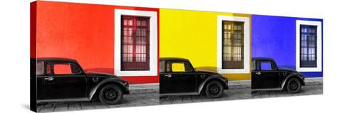 ¡Viva Mexico! Panoramic Collection - Three Black VW Beetle Cars VIII-Philippe Hugonnard-Stretched Canvas Print