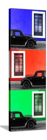 ¡Viva Mexico! Panoramic Collection - Three Black VW Beetle Cars XV-Philippe Hugonnard-Stretched Canvas Print