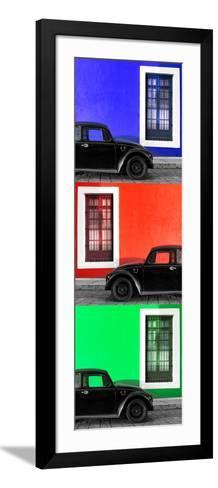 ¡Viva Mexico! Panoramic Collection - Three Black VW Beetle Cars XV-Philippe Hugonnard-Framed Art Print