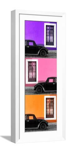 ¡Viva Mexico! Panoramic Collection - Three Black VW Beetle Cars XIV-Philippe Hugonnard-Framed Art Print