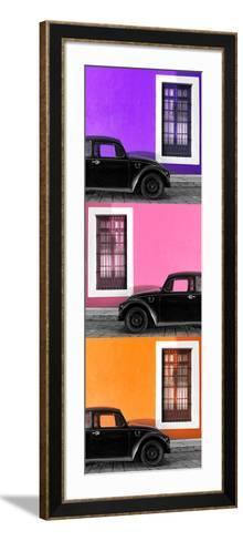 ¡Viva Mexico! Panoramic Collection - Three Black VW Beetle Cars XIV-Philippe Hugonnard-Framed Art Print