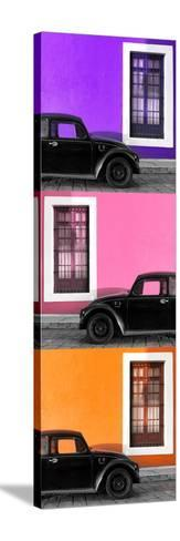 ¡Viva Mexico! Panoramic Collection - Three Black VW Beetle Cars XIV-Philippe Hugonnard-Stretched Canvas Print