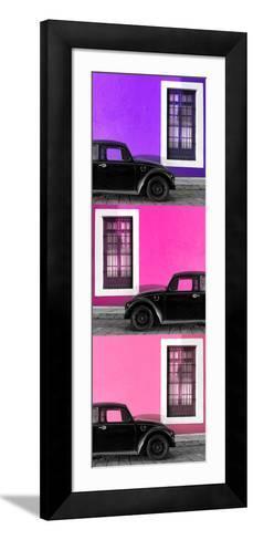 ¡Viva Mexico! Panoramic Collection - Three Black VW Beetle Cars XXIII-Philippe Hugonnard-Framed Art Print