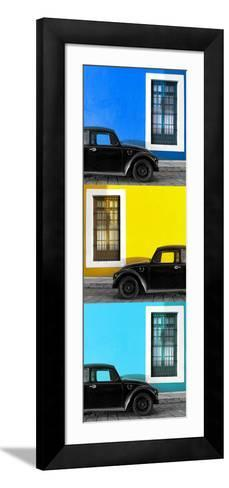 ¡Viva Mexico! Panoramic Collection - Three Black VW Beetle Cars XX-Philippe Hugonnard-Framed Art Print