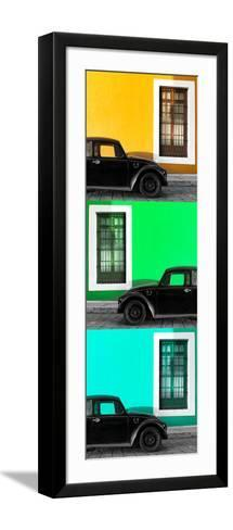 ¡Viva Mexico! Panoramic Collection - Three Black VW Beetle Cars XXI-Philippe Hugonnard-Framed Art Print