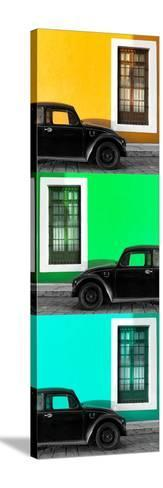 ¡Viva Mexico! Panoramic Collection - Three Black VW Beetle Cars XXI-Philippe Hugonnard-Stretched Canvas Print