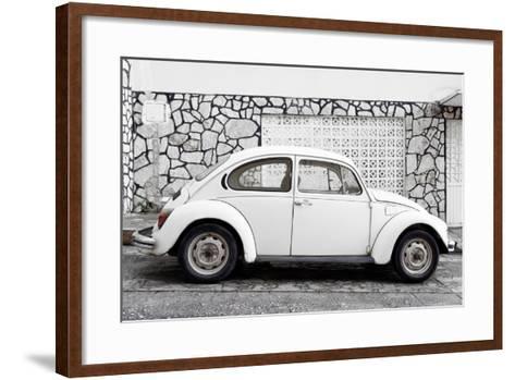 ¡Viva Mexico! Collection - White VW Beetle Car-Philippe Hugonnard-Framed Art Print