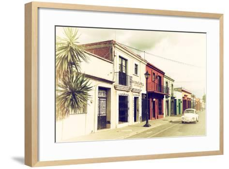 ¡Viva Mexico! Collection - Colorful Facades and White VW Beetle Car IV-Philippe Hugonnard-Framed Art Print