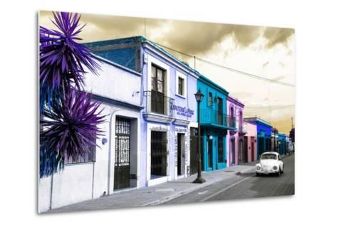 ¡Viva Mexico! Collection - Colorful Facades and White VW Beetle Car III-Philippe Hugonnard-Metal Print