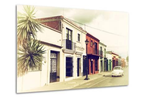 ¡Viva Mexico! Collection - Colorful Facades and White VW Beetle Car IV-Philippe Hugonnard-Metal Print