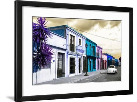 ¡Viva Mexico! Collection - Colorful Facades and White VW Beetle Car III-Philippe Hugonnard-Framed Art Print