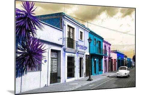 ¡Viva Mexico! Collection - Colorful Facades and White VW Beetle Car III-Philippe Hugonnard-Mounted Photographic Print