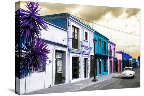 ¡Viva Mexico! Collection - Colorful Facades and White VW Beetle Car III-Philippe Hugonnard-Stretched Canvas Print