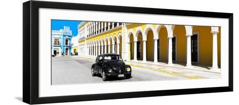 ¡Viva Mexico! Panoramic Collection - Black VW Beetle and Yellow Architecture-Philippe Hugonnard-Framed Art Print