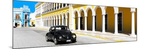 ¡Viva Mexico! Panoramic Collection - Black VW Beetle and Yellow Architecture-Philippe Hugonnard-Mounted Photographic Print