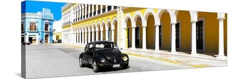 ¡Viva Mexico! Panoramic Collection - Black VW Beetle and Yellow Architecture-Philippe Hugonnard-Stretched Canvas Print