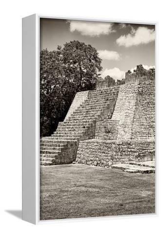 ?Viva Mexico! B&W Collection - Maya Archaeological Site - Campeche-Philippe Hugonnard-Framed Canvas Print