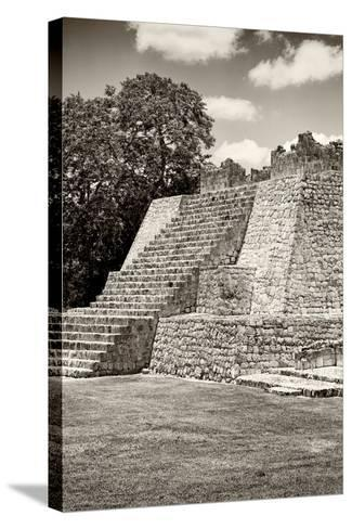 ?Viva Mexico! B&W Collection - Maya Archaeological Site - Campeche-Philippe Hugonnard-Stretched Canvas Print