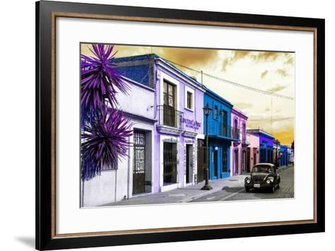 ¡Viva Mexico! Collection - Colorful Facades and Black VW Beetle Car II-Philippe Hugonnard-Framed Art Print