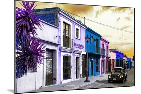 ¡Viva Mexico! Collection - Colorful Facades and Black VW Beetle Car II-Philippe Hugonnard-Mounted Photographic Print