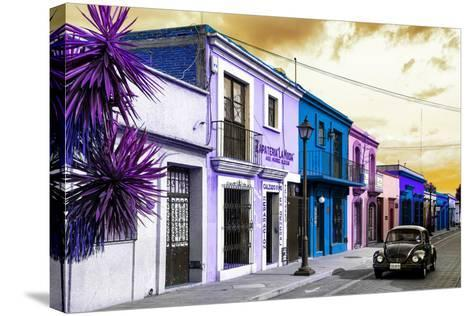 ¡Viva Mexico! Collection - Colorful Facades and Black VW Beetle Car II-Philippe Hugonnard-Stretched Canvas Print