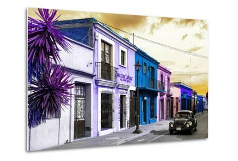 ¡Viva Mexico! Collection - Colorful Facades and Black VW Beetle Car II-Philippe Hugonnard-Metal Print