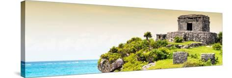 ¡Viva Mexico! Panoramic Collection - Ancient Mayan Fortress in Riviera Maya - Tulum III-Philippe Hugonnard-Stretched Canvas Print