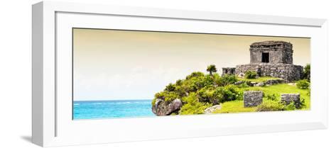 ¡Viva Mexico! Panoramic Collection - Ancient Mayan Fortress in Riviera Maya - Tulum III-Philippe Hugonnard-Framed Art Print