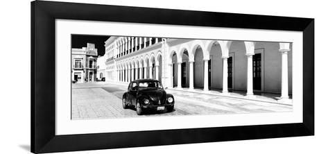 ¡Viva Mexico! Panoramic Collection - Black VW Beetle and Mexican Architecture B&W II-Philippe Hugonnard-Framed Art Print