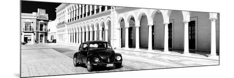 ¡Viva Mexico! Panoramic Collection - Black VW Beetle and Mexican Architecture B&W II-Philippe Hugonnard-Mounted Photographic Print