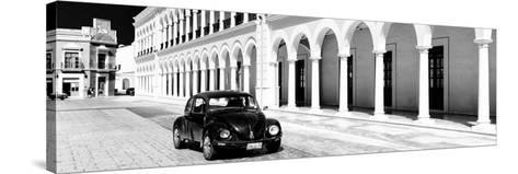 ¡Viva Mexico! Panoramic Collection - Black VW Beetle and Mexican Architecture B&W II-Philippe Hugonnard-Stretched Canvas Print