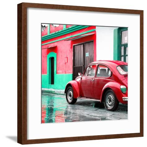 ¡Viva Mexico! Square Collection - VW Beetle and Red Wall-Philippe Hugonnard-Framed Art Print