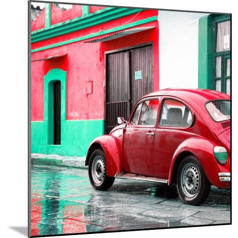 ¡Viva Mexico! Square Collection - VW Beetle and Red Wall-Philippe Hugonnard-Mounted Photographic Print