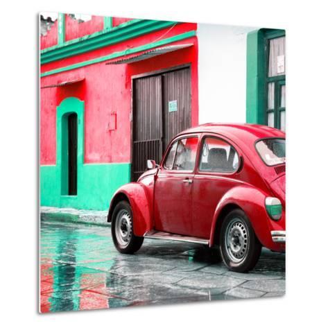 ¡Viva Mexico! Square Collection - VW Beetle and Red Wall-Philippe Hugonnard-Metal Print