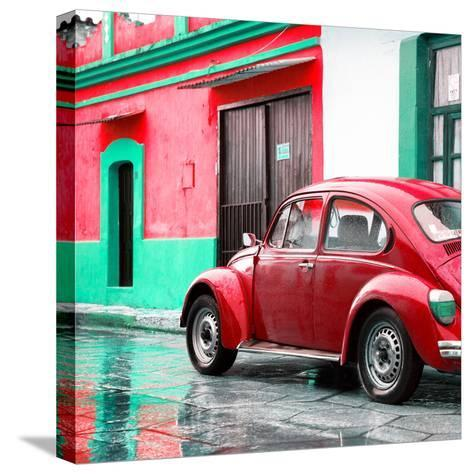 ¡Viva Mexico! Square Collection - VW Beetle and Red Wall-Philippe Hugonnard-Stretched Canvas Print