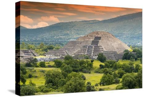 ?Viva Mexico! Collection - Pyramid of the Sun - Teotihuacan-Philippe Hugonnard-Stretched Canvas Print