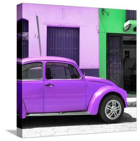 "¡Viva Mexico! Square Collection - ""15 Street"" Purple VW Beetle Car-Philippe Hugonnard-Stretched Canvas Print"