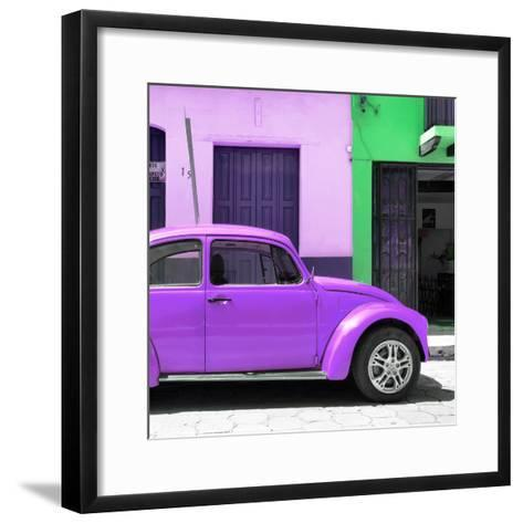 "¡Viva Mexico! Square Collection - ""15 Street"" Purple VW Beetle Car-Philippe Hugonnard-Framed Art Print"