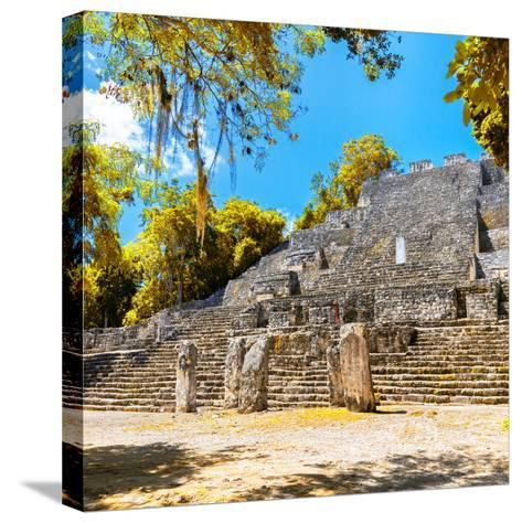 ¡Viva Mexico! Square Collection - Ruins of the ancient Mayan City of Calakmul with Fall Colors-Philippe Hugonnard-Stretched Canvas Print