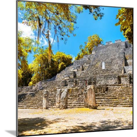 ¡Viva Mexico! Square Collection - Ruins of the ancient Mayan City of Calakmul with Fall Colors-Philippe Hugonnard-Mounted Photographic Print