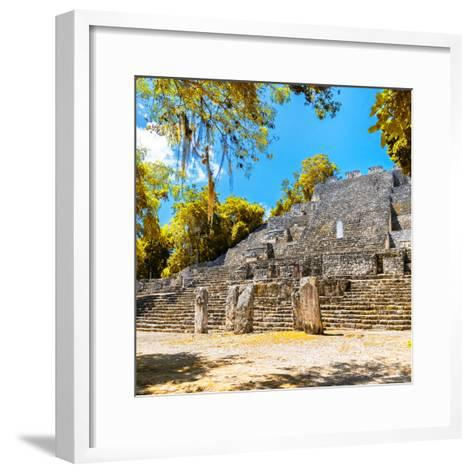 ¡Viva Mexico! Square Collection - Ruins of the ancient Mayan City of Calakmul with Fall Colors-Philippe Hugonnard-Framed Art Print
