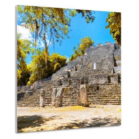 ¡Viva Mexico! Square Collection - Ruins of the ancient Mayan City of Calakmul with Fall Colors-Philippe Hugonnard-Metal Print