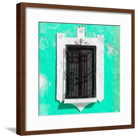¡Viva Mexico! Square Collection - Coral Green Wall & Black Window-Philippe Hugonnard-Framed Art Print