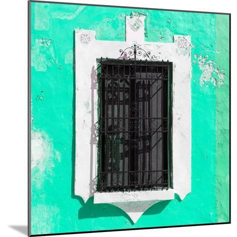 ¡Viva Mexico! Square Collection - Coral Green Wall & Black Window-Philippe Hugonnard-Mounted Photographic Print