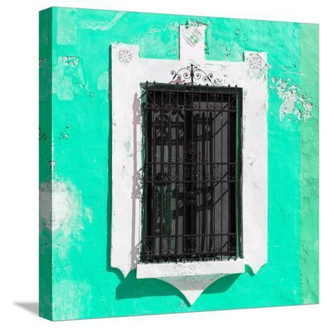 ¡Viva Mexico! Square Collection - Coral Green Wall & Black Window-Philippe Hugonnard-Stretched Canvas Print