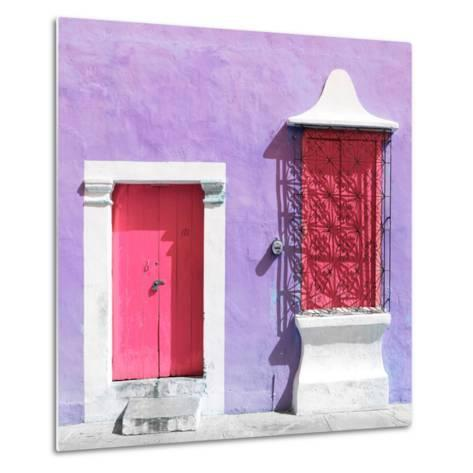 "¡Viva Mexico! Square Collection - ""172 Street"" Pink & Mauve-Philippe Hugonnard-Metal Print"