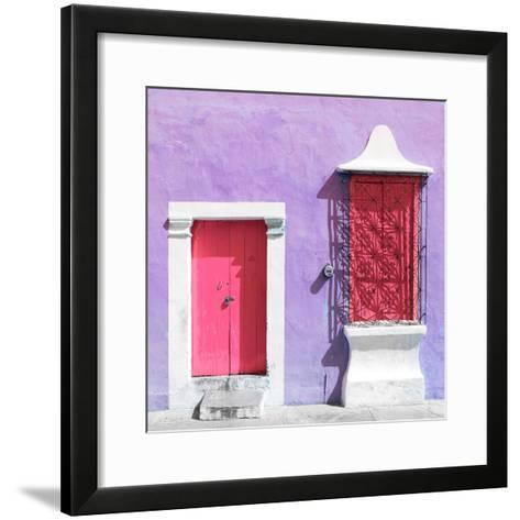"¡Viva Mexico! Square Collection - ""172 Street"" Pink & Mauve-Philippe Hugonnard-Framed Art Print"