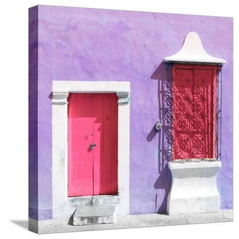 "¡Viva Mexico! Square Collection - ""172 Street"" Pink & Mauve-Philippe Hugonnard-Stretched Canvas Print"